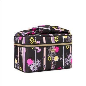 Victoria's Secret Black Floral Stripe Train Case
